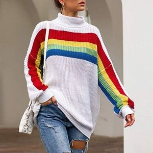 Retro white rainbow oversized turtleneck sweater